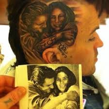 yelawolf tattoos johnny cash u0026 fefe dobson on the side of his head