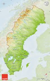 Map Sweden Physical Map Of Sweden Lighten