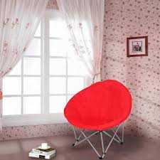 Oversized Red Chair Microsuede Folding Padded Saucer Moon Chair Lagre Oversized Living