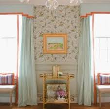 Contemporary Cornice Boards Modern Cornice Board Pale Blue Silk With Orange Trim One Room
