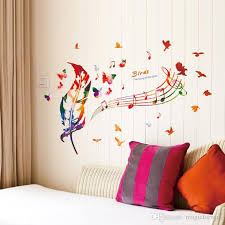 wall stickers murals colorful feather musical note butterfly birds wall mural