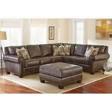 Abbyson Sectional Sofa Sofa Top Grain Leather Sectional Penn Chocolate Brown Curved