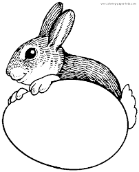 bunny with easter egg coloring page for kids