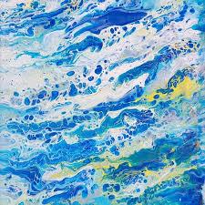 blue and white painting ocean bubbles by alexandra romano vango original art
