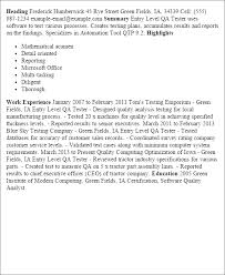Entry Level Resume Samples by Cool Qa Resume Sample Entry Level 13 For Good Objective For Resume