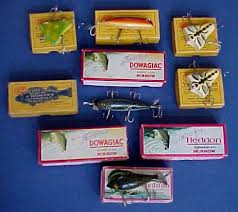 antique fishing lures and lure boxes