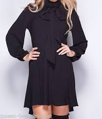 black pussybow blouse pussybow blouse shirt dress sizes 8 20 black green various colours