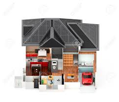 front view of smart house this house supply with home battery