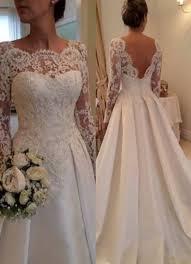 lace long sleeves beach wedding dresses beading satin open back