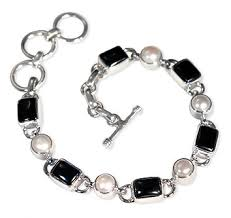 pearl sterling silver bracelet images Gemstone jewelry beautiful silver jewelry black onyx and jpg