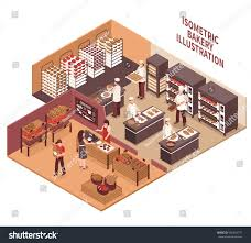 bakery interior isometric vector illustration professional stock