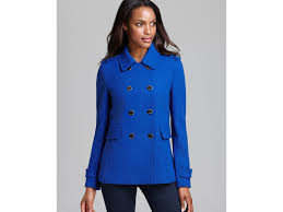 calvin klein peacoat double breasted military in blue lyst