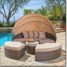 Outdoor Daybed With Canopy Amazon Com Suncrown Outdoor Furniture Wicker Daybed With