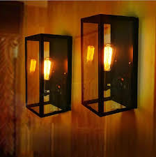 Edison Wall Sconce Loft Modern Vintage American Country Lustre Glass Box Rectangle