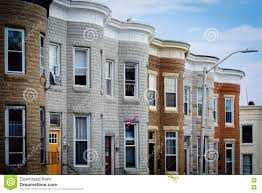 repeating pattern of row houses in hampden baltimore maryland