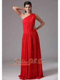 simple red one shoulder floor length plus size prom dress in