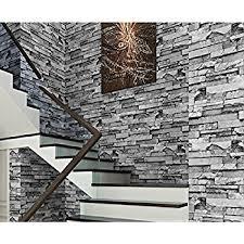 haokhome 454003 modern faux stone wallpaper roll gray 3d brick