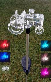 tractor color changing solar lights set of 2 for outdoor garden