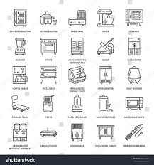 restaurant professional equipment line icons kitchen stock vector