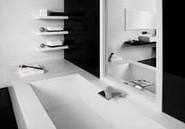 black white bathroom ideas gorgeous wall shelving nuanced in white applied at modern bathroom