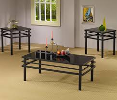 contemporary living room occasional tables 3 pack black coaster 701524
