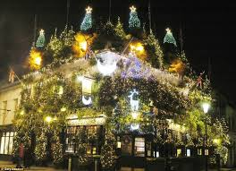christmas tree flower lights is this britain s most christmassy pub churchill arms in west