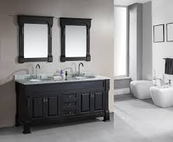 modern style black color double bathroom vanity design come with