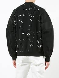 carven guitars carven embroidered trim sweatshirt 999 black men