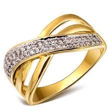 gold womens wedding band rings 2 tone plated with aaa cubic zircon white gold