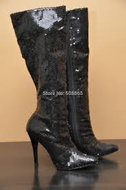 womens boots knee high black 12cm high heels boots black glitter knee high
