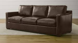 Davis Leather Seat Sofa Crate And Barrel - Leather 3 seat sofa