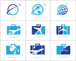 Travel logos set design ticket agency and tourism vector icons