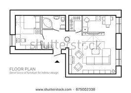 Floor Plan Drawing Symbols Outline Vector Simple Furniture Plan Floor Stock Vector 675002338
