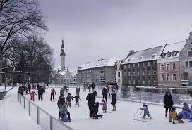 ice rink on harju street tallinn estonia