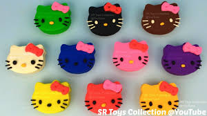 learn colours play doh kitty fruits molds fun