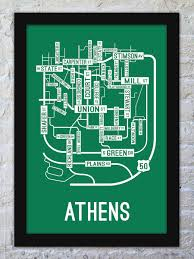 Athens Ohio Map by Athens Ohio Street Map Print Street Posters