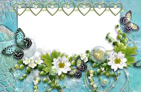 aquamarine transparent frame with butterflies hearts and flowers