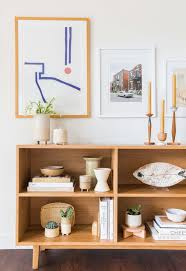 Japanese Style Living Room Furniture Wooden Shelves In The Nearby Mel U0027s Living Room Reveal Emily Henderson