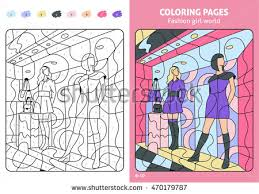 fashion coloring pages kids stock vector 470179787