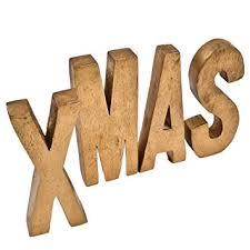 de schriftzug buchstaben holz 13cm gold weihnachtsdeko