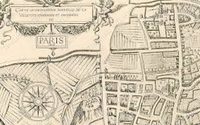 Map Paris France by Large Vintage Historic Paris France 1609 Old Antique Street Style