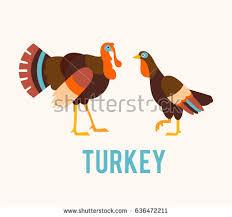 flat style happy thanksgiving turkey illustration