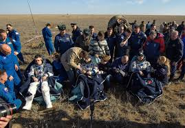afternoon soyuz touchdown caps half year space mission for russian