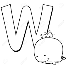 coloring alphabet for kids w with whale royalty free cliparts