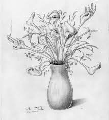 bunch of flowers drawing bouquet of summer flowers in a white vase
