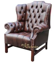 High Back Leather Armchair Chesterfield Churchill High Back Wing Chair Uk Manufactured