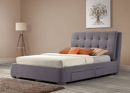 Luxury Super King Size Bed Mayfair 4 Drawer Bed Grey Covered In Textured Grey Fabric This