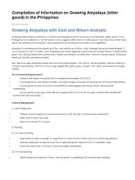 Mature Compilation - compilation of information on growing ampalaya bitter gourd in