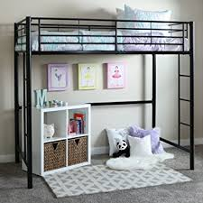 amazon com walker edison twin metal loft bed black kitchen u0026 dining