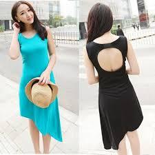 women summer casual irregular hem hollow out back sleeveless one